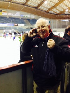 Paul at Ice Rink with Sainsburys Draw